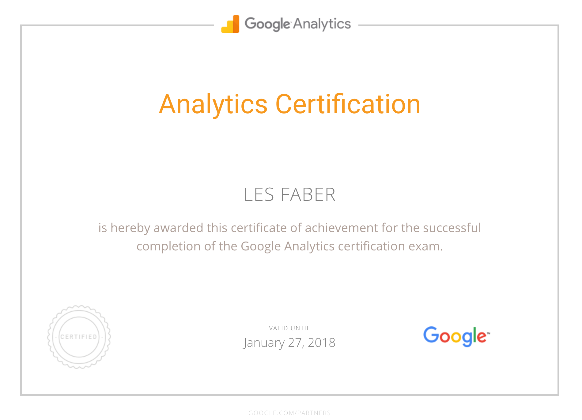 Google Partner - Analytics Certification for Les Faber
