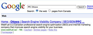 Screen capture of Google SERP for WebFuel